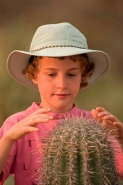 Boy with Saguaro Cactus - Sonoran Desert - Arizona - USA
