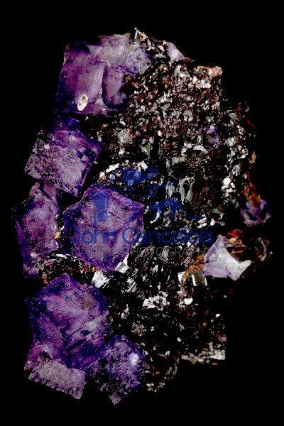 Fluorite (CaF2) on Sphalerite (ZnS) -  Tennessee - USA