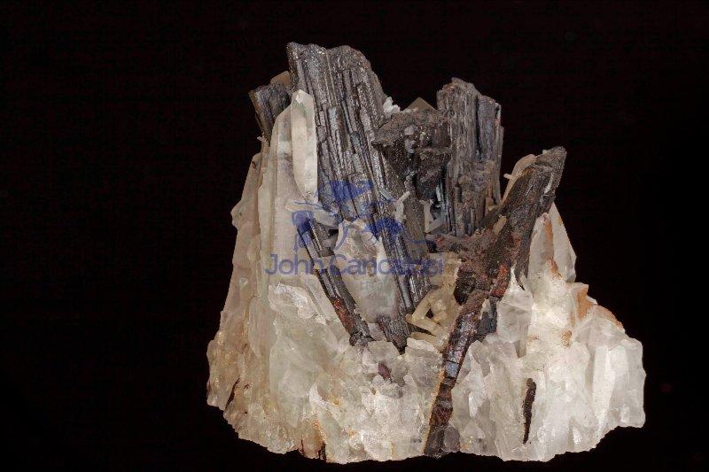 Hubnerite (Ferberite) on Quartz - Pasto Bueno - Peru
