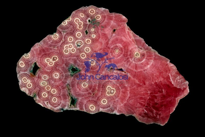 Rhodochrosite - MnCO3 - Argentina - cross-section of