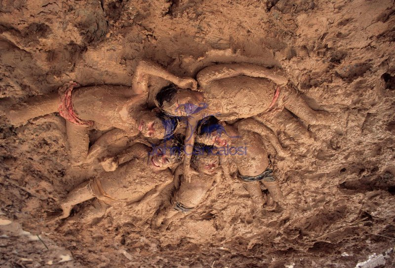 Mayoruna Indian Children in Mud - Amazon Basin - Peru