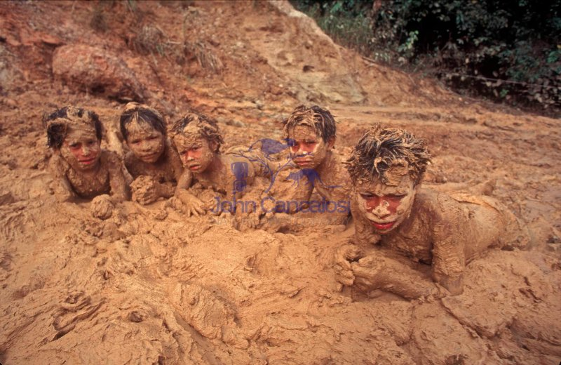 Mayoruna Indian Children in Mud -  Peru