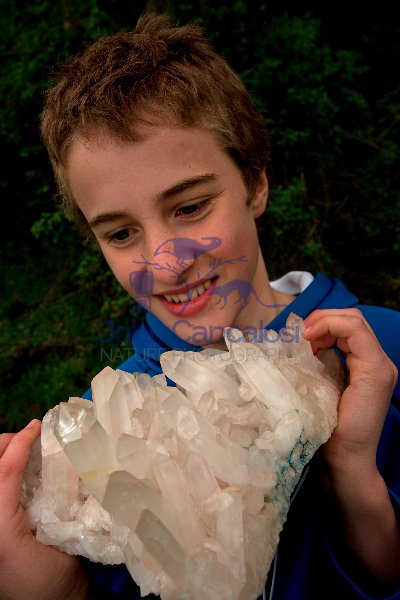 Child with Quartz specimen - New York - Model Released
