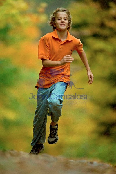 Boy Age 12 Running - Upstate New York in Autumn - USA