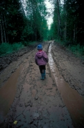 Child Walking in Forest - Siberia