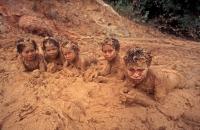 Mayoruna Indian Children in Mud -  Peru