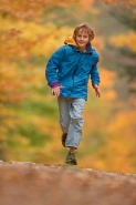 Boy Age 12 Running - Upstate New York in Autumn - USA